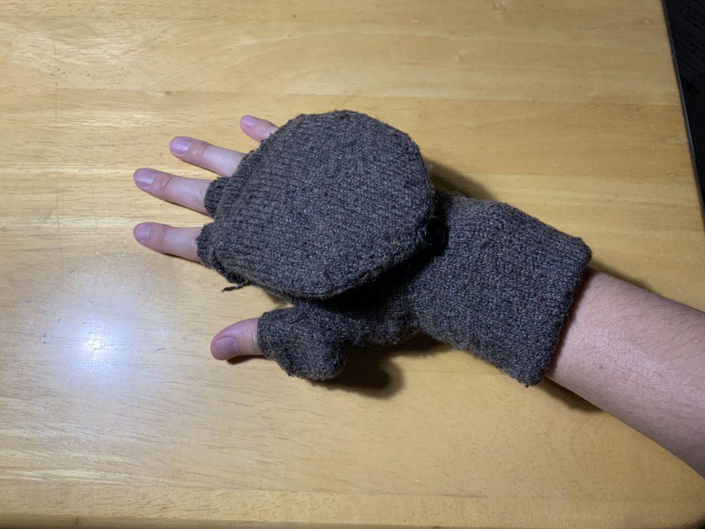 無印良品手袋_装着_半指_手の甲